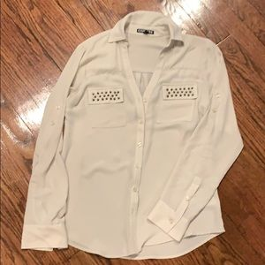 Express grey button down shirt
